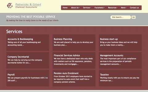 Screenshot of Services Page pgtax.co.uk - Accountants in Midsomer Norton : Pethericks & Gillard - Chartered Accountants in Bath & Somerset - captured Oct. 2, 2014