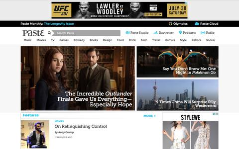 Screenshot of Home Page pastemagazine.com - Paste Magazine :: The Best Movies, TV, Songs, Albums, Games, Books, Comedy, Tech, Design and Beer :: Music and Movie News, Reviews, Videos and More - captured July 11, 2016