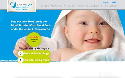 Screenshot of Press Page stemcyte.com - Umbilical Cord blood Bank   Stem Cell Banking   stemcyte - captured Sept. 23, 2015