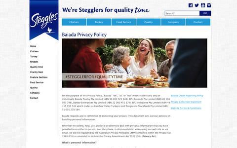 Screenshot of Privacy Page steggles.com.au - Baiada Privacy Policy - Steggles quality Australian chicken and turkey products - captured June 19, 2017