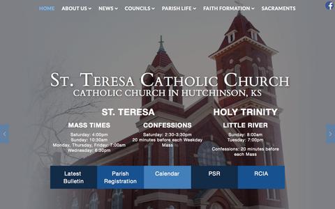 Screenshot of Home Page saintteresahutchinson.com - St. Teresa Catholic Church, Huchinson, KS - captured Sept. 30, 2015