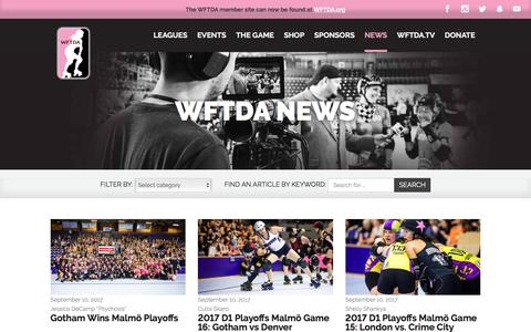 Screenshot of Press Page wftda.com - WFTDA News – WFTDA - captured Sept. 13, 2017
