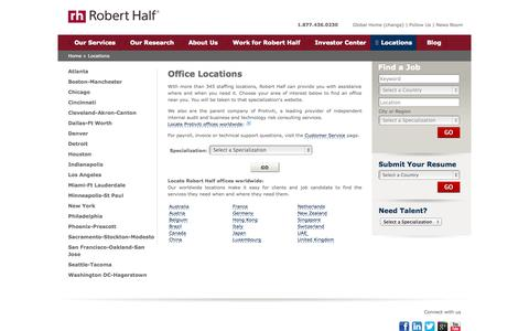 Screenshot of Contact Page Locations Page roberthalf.com - Office Locations | Robert Half - captured Oct. 26, 2014