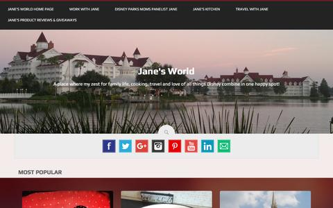 Screenshot of Home Page janesworld.co - Jane's World | A place where my zest for family life, cooking, travel and love of all things Disney combine in one happy spot! - captured Jan. 20, 2016