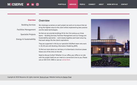 Screenshot of Services Page mecserve.com - Mecserve - environmental Engineering Consultants for Building Services, Facilities Management and Sustainability Design - captured Sept. 20, 2018
