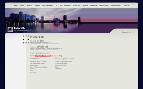 Screenshot of Contact Page protecuk.com - Protec  UK - Contact Us - captured Sept. 30, 2014