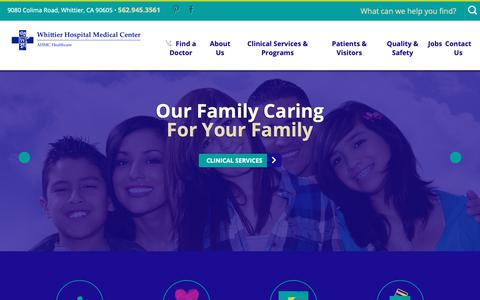 Screenshot of Home Page whittierhospital.com - Whittier Hospital Medical Center | Whittier Medical Services - captured Oct. 26, 2018