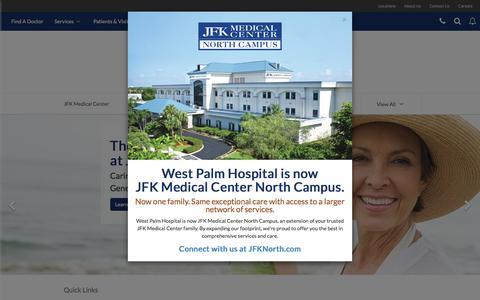 Screenshot of Home Page jfkmc.com - Home | JFK Medical Center | Atlantis, FL - captured April 2, 2016