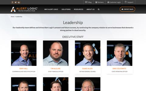Screenshot of Team Page alertlogic.com - Alert Logic Leadership – Alert Logic Executives | Alert Logic - captured Feb. 15, 2018