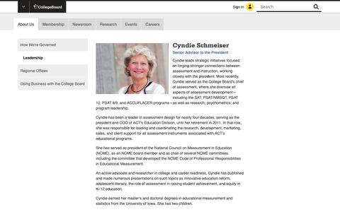 Screenshot of Team Page collegeboard.org - Cyndie Schmeiser - Chief of Assessment - The College Board - captured Jan. 4, 2019