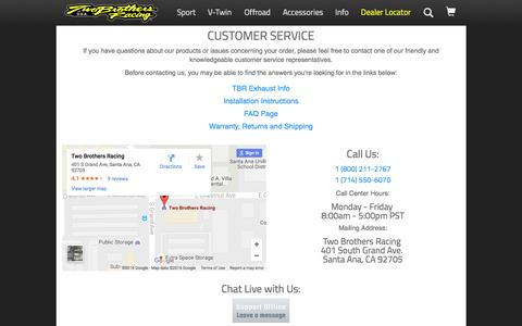 Screenshot of Contact Page Support Page twobros.com - Customer Service - Contact Us - captured Dec. 2, 2016