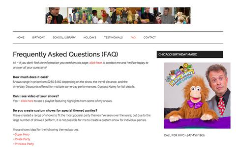 Screenshot of FAQ Page misterkipley.com - Frequently Asked Questions (FAQ) - captured Nov. 6, 2017