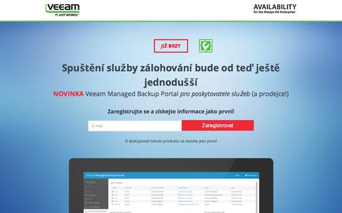 Screenshot of Landing Page veeam.com - Veeam Managed Backup Portal pro poskytovatele služeb - captured March 22, 2016