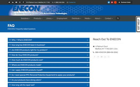 Screenshot of FAQ Page enecon.com - ENECON Frequently Asked Questions - captured Sept. 26, 2018