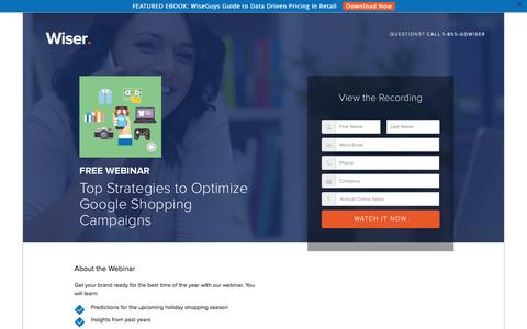Screenshot of Landing Page wiser.com - Top Strategies to Optimize Google Shopping Campaigns - captured Oct. 27, 2016