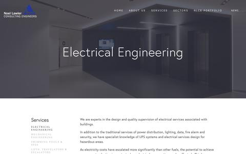 Screenshot of Services Page nlce.ie - Electrical Engineering — Noel Lawler Consulting Engineers - captured Oct. 20, 2018