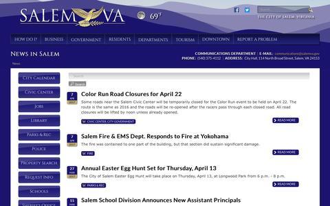 Screenshot of Press Page salemva.gov - News in Salem - captured April 13, 2017