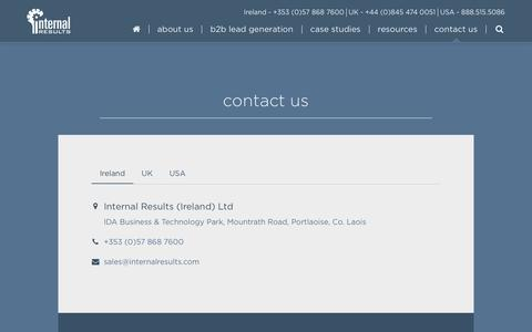 Screenshot of Contact Page internalresults.com - Contact Internal Results for B2B Lead Generation Services - captured Sept. 19, 2018