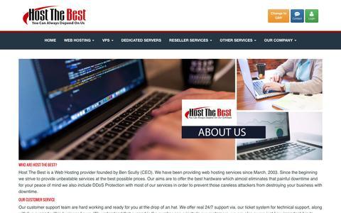 Screenshot of About Page hostthebest.com - HostTheBest USA - About Us - captured Sept. 18, 2016
