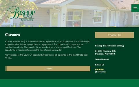 Screenshot of Jobs Page milestoneretirement.com - Bishop Place Senior Living | Our Careers - captured Jan. 25, 2017