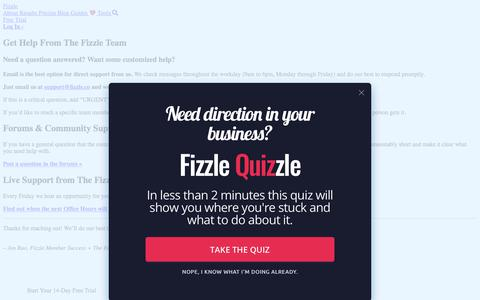 Screenshot of Support Page fizzle.co - Get Support From Fizzle - captured Sept. 17, 2019