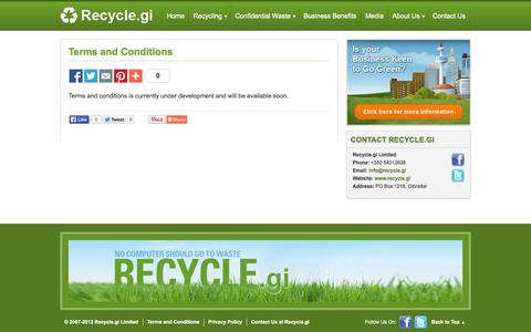 Screenshot of Terms Page recycle.gi - Terms and Conditions - captured Oct. 26, 2014