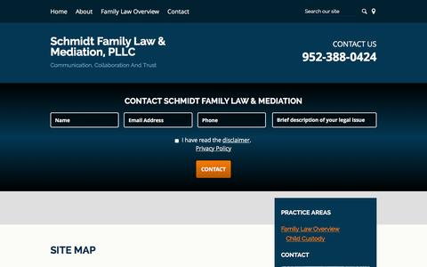 Screenshot of Site Map Page schmidtfamilylaw.com - Site Map | Schmidt Family Law & Mediation, PLLC  | Edina, Minnesota - captured Feb. 4, 2016