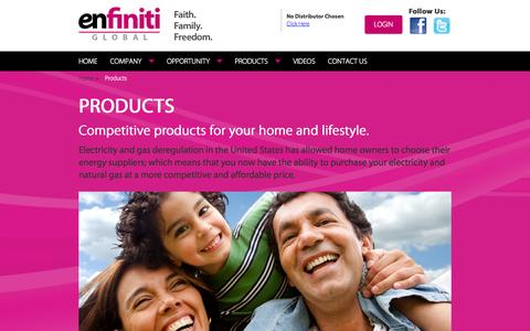 Screenshot of Products Page enfinitiglobal.com - Enfiniti Global - captured Oct. 2, 2014