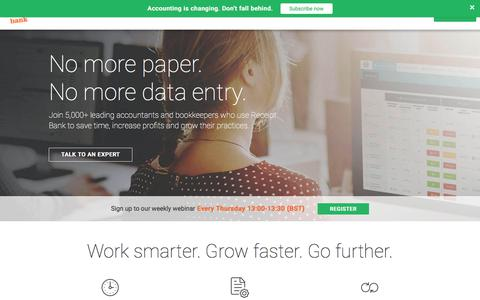 Screenshot of Home Page receipt-bank.com - Work smarter. Grow faster. Go further. - Receipt Bank - captured April 20, 2018