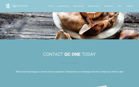 Screenshot of Contact Page qcone.com - Contact – QC One   Leading platform for quality control of fresh produce - captured July 15, 2018