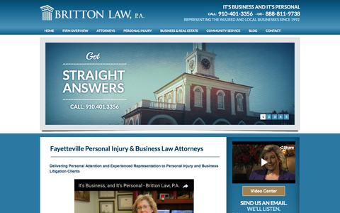 Screenshot of Home Page brittonlawfirm.com - Personal Injury Lawyer and Business & Real Estate Law Firm | Fayetteville, NC | Britton Law - captured Oct. 11, 2017