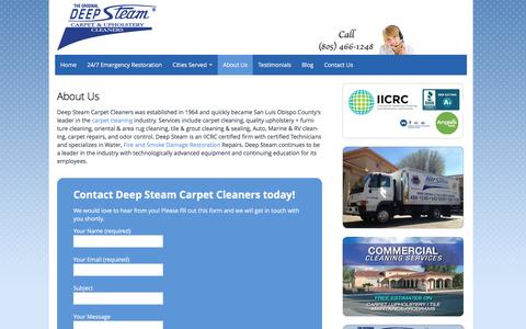 Screenshot of About Page deep-steam.com - About Us | Deep Steam Carpet Cleaning | (805) 466-1248 - captured Feb. 8, 2016