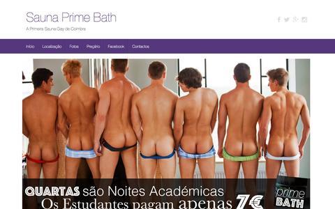 Screenshot of Home Page primebath.pt - Sauna Prime Bath - A Primeira Sauna Gay de Coimbra - captured April 12, 2016