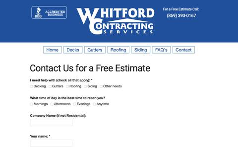 Screenshot of Contact Page whitfordcontracting.com - Contact Us for a Free Estimate - Whitford Contracting (859) 393-0167 - captured Oct. 20, 2018