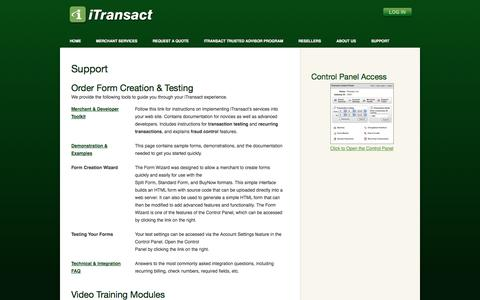 Screenshot of Support Page itransact.com - Support - iTransact Merchant Gateway Provider - captured Oct. 10, 2014