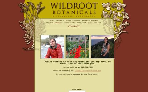 Screenshot of Contact Page wildrootbotanicals.com - Wildroot Botanicals, Bellingham, WA : Contact - captured Feb. 23, 2016