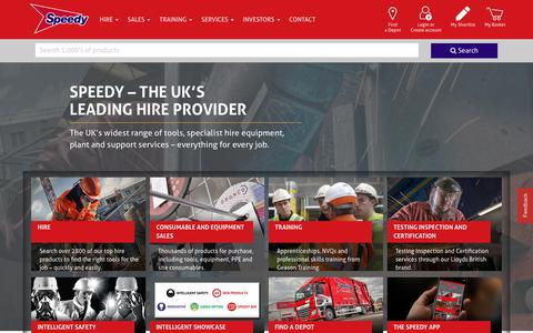 Screenshot of Home Page speedyservices.com - Speedy Equipment & Tool Hire | Speedy Services - captured Aug. 20, 2019