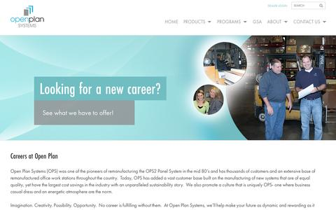 Screenshot of Jobs Page openplan.com - Careers - Open Plan Systems - captured Oct. 7, 2014