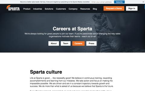 Screenshot of Jobs Page spartasales.com - Careers - Sparta - captured Oct. 9, 2016