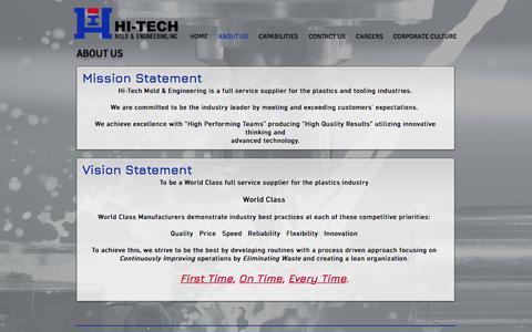 Screenshot of About Page hitechmold.com - Hi-Tech Mold & Engineering, Inc   Plastic Injection Molding Michigan - captured Aug. 4, 2017