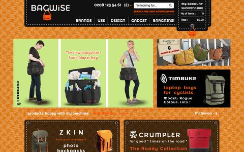 Screenshot of Home Page bagwise.com - Online Store for Leather and Cordura Backpacks - Messenger bags || Bagwise.Com - captured July 28, 2016