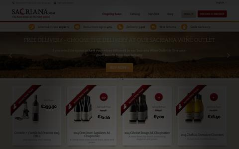 Screenshot of Home Page sacriana.com - Private sales of the finest selection of wines on the internet | Sacriana - captured Dec. 20, 2015