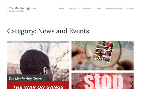 Screenshot of Press Page tmg-uk.org - News and Events | The Monitoring Group - captured Oct. 30, 2018