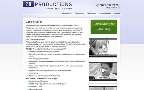 Screenshot of Case Studies Page 2dot0.co.uk - Case Studies - captured Oct. 27, 2014