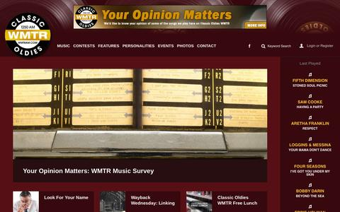 Screenshot of Home Page wmtram.com - WMTR AM - Classic Oldies - captured Oct. 16, 2015