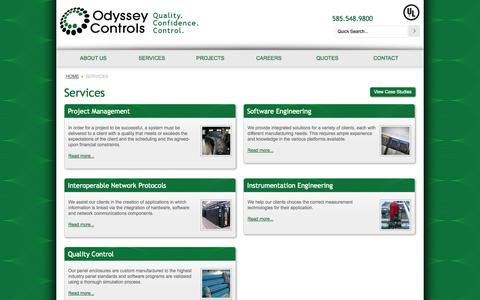 Screenshot of Services Page odysseycontrols.com - Services - Odyssey Controls - captured Oct. 27, 2014