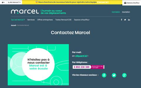 Screenshot of Contact Page marcel.cab - Service Client | MARCEL - captured June 20, 2018
