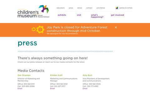 Screenshot of Press Page mychildsmuseum.org - Press - Media Releases | Children's Museum of Denver - captured Sept. 27, 2018