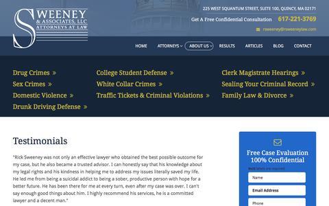 Screenshot of Testimonials Page rsweeneylaw.com - Testimonials | Sweeney and Associates LLC | Quincy, Massachusetts - captured Jan. 12, 2016