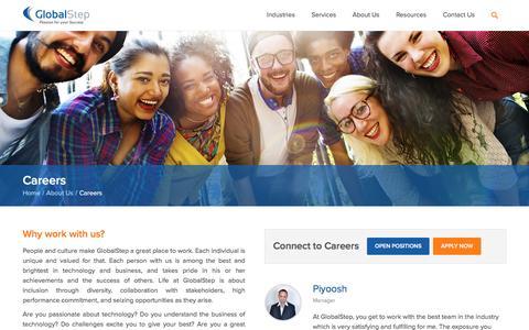 Screenshot of Jobs Page globalstep.com - GlobalStep Careers | Jobs & Openings - captured July 15, 2016
